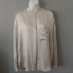 Vince silk button-down blouse small s silver gray